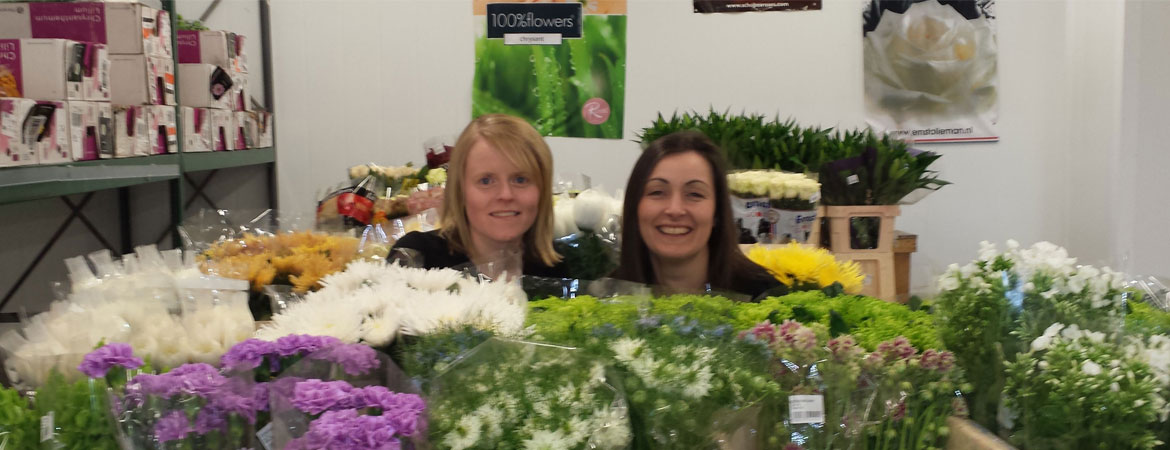 Elaine and Karen hard at work in their florist in Springburn, making bouquets for weddings & funerals.